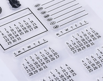 Calendar StampPlanner Bullet JournalRubber StampClear Transparent Stamp Month Stampblank Monthly With Weeks And Dates