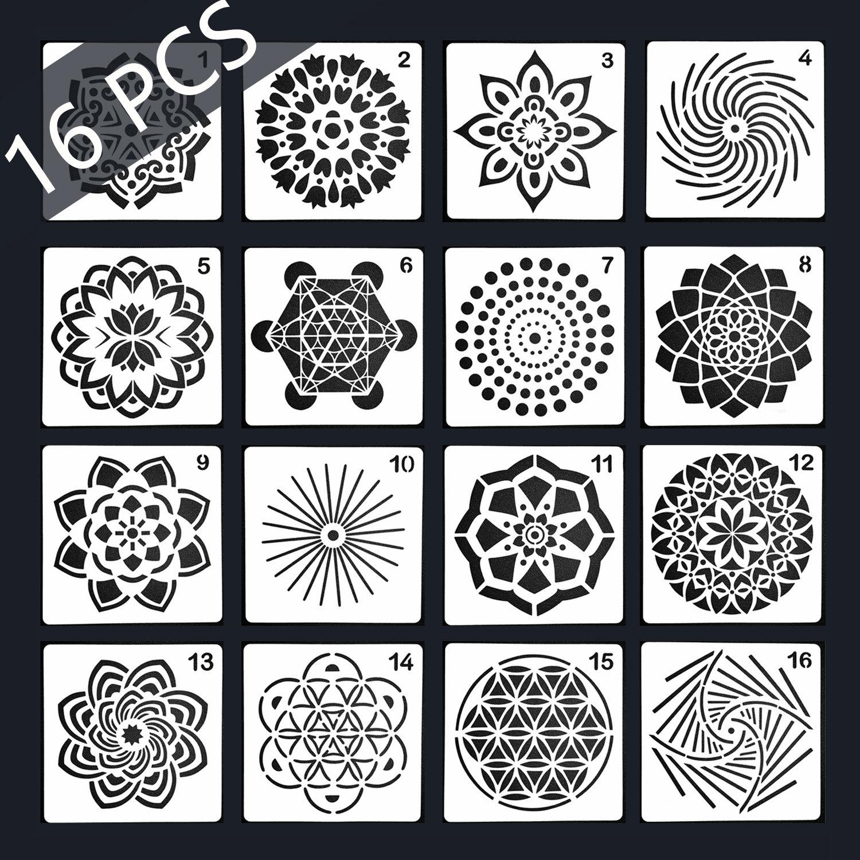 16 Pcs Mandala pochoirs, options de Multi pour fantaisie le modèle, outil de peinture de pochoirs, mandala fantaisie pour pochoir, album bricolage dessin modèle 5e581c