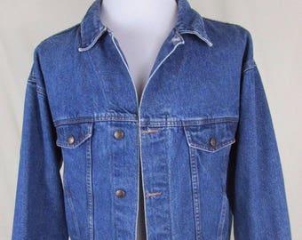Vintage Brighton Blue Men's XL Jean Jacket Coat Blue Denim Trucker