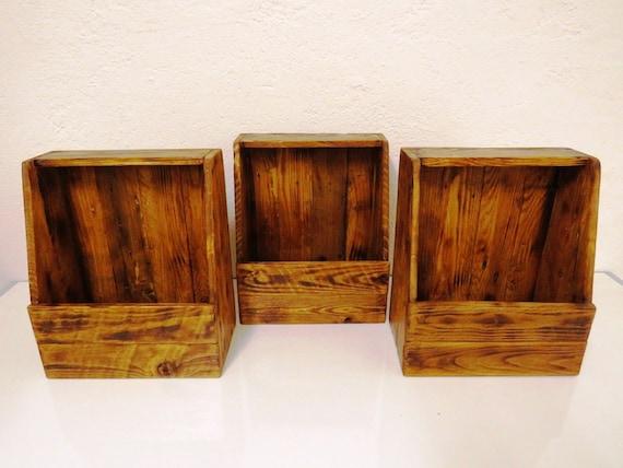 Small Bookcase Object Holder Wooden Magazine Door Etsy Amazing Door Magazine Holder