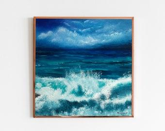 Ocean/'s Heart Original Acrylic Pour Painting Art Canvas Acrylic Ocean Painting