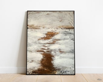 White Brown Abstract Painting Original Large Canvas Palette Knife Snow Art Acrylic Housewarming Gift