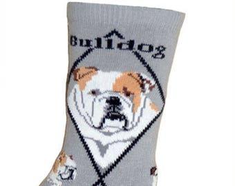 English Bulldog Dog Breed Lightweight Stretch Cotton Adult Socks