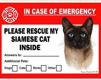 aeae220514724 Siamese Cat Pet Savers Dog Emergency Rescue Window Cling Sticker
