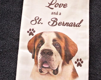 17a2228e3f84 Saint Bernard Dog Breed Cotton Kitchen Dish Towel