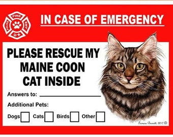 Maine Coon Brown Tabby Cat Pet Savers Dog Emergency Rescue Window Cling Sticker