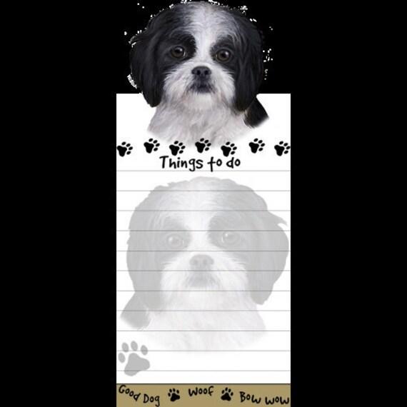 Shih Tzu Black Puppy Magnetic Post It Dog Breed Stationery Etsy