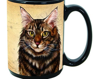 Maine Coon Brown Tabby Cat Faithful Friends Dog Breed 15oz Coffee Mug Cup