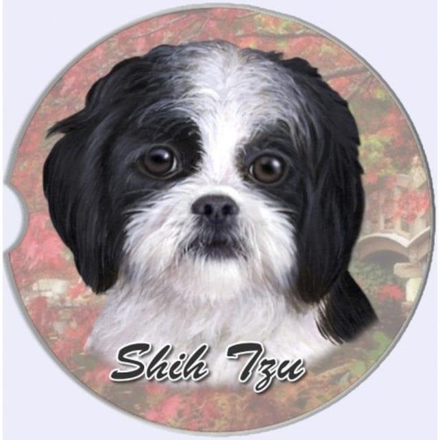 Shih Tzu Black Puppy Sandstone Absorbent Dog Breed Car Coaster Etsy