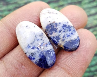 Matched Pair Natural Sodalite Cabochon Sodalite Gemstone Pair In Low Price Cabochon, Sodalite Pair Sodalite Sodalite For Use Jewelry