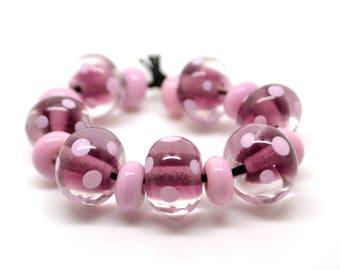 Beadset Lampwork Pink Dots
