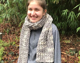 Cozy White and Gray scarf