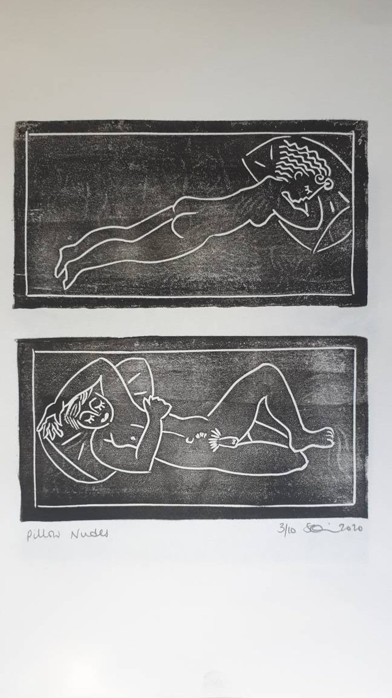 Individual or Diptych Male and Female Nudes Linocut