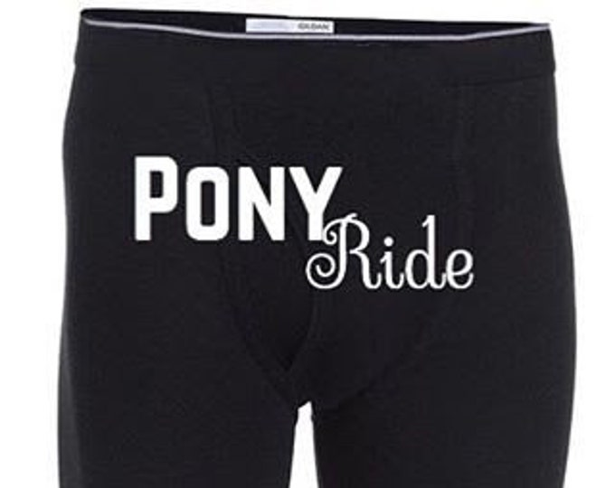 """Personalized Men """"Pony Ride"""" Boxer Briefs/FAST SHIPPING/Anniversaries/Birthdays"""
