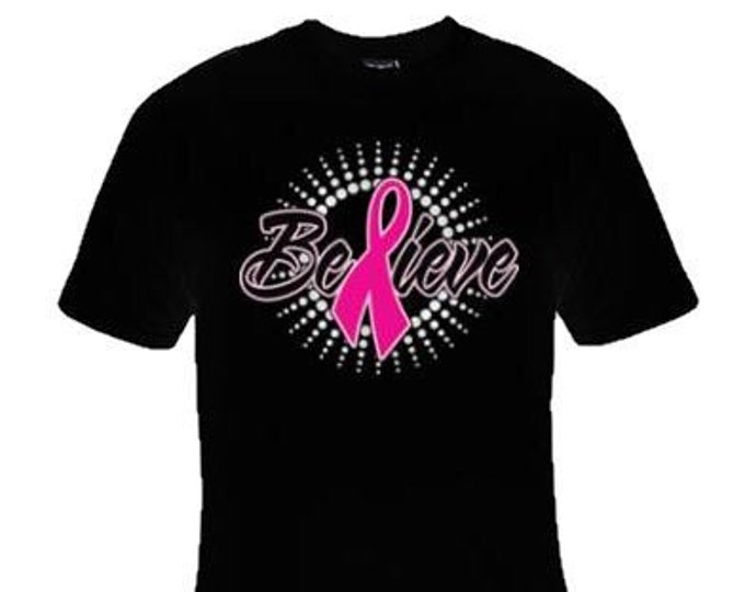 """Breast Cancer Awareness T-shirts """"Believe""""/FAST SHIPPING"""