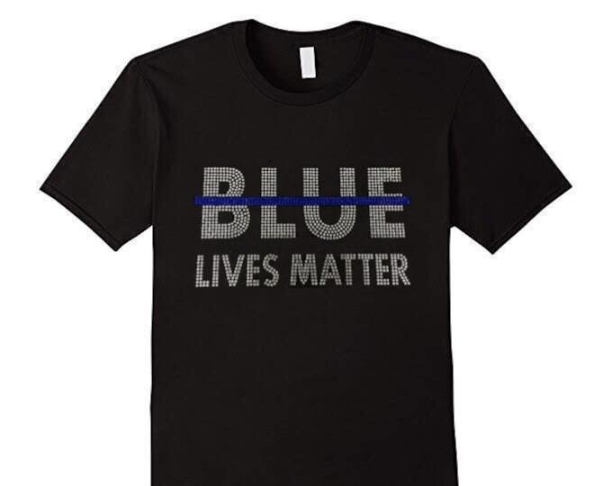 Blue Lives Matter Rhinestones T-shirts/FAST SHIPPING