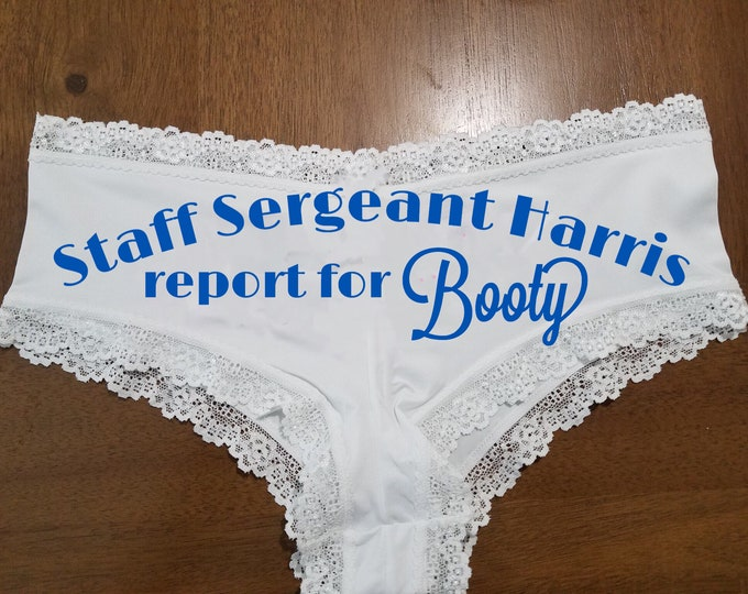 "Personalized Lace ""Ssgt Report for Booty""/FAST SHIPPING/Anniversaries/Birthdays/Military"