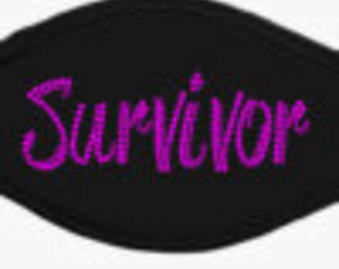 "Bling Face Mask ""Breast Cancer Awareness Survivor""/Bling/Face Mask"