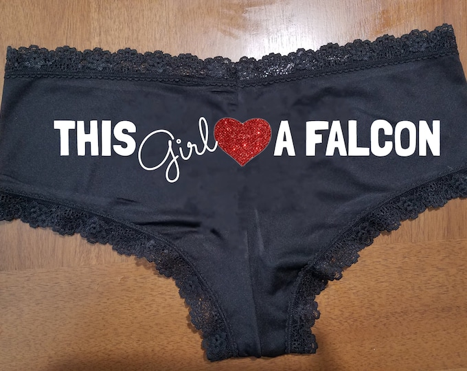 """Sexy """"This Girl loves A Falcon"""" Lace Panties / Glitter heart/FAST SHIPPING/Celebrations"""