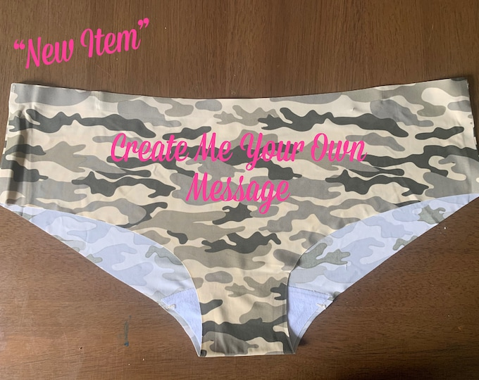 """Create Your Own Message """"CAMOUFLAGE Seamless Panties/FAST SHIPPING/Birthday/Anniversaries"""
