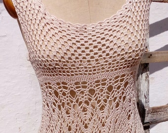 crochet dress bohemian style pure coton handmade