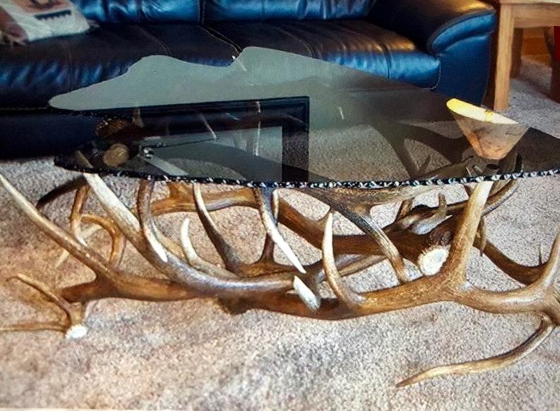 Elk Antler Arrow Head Glass Coffee Table