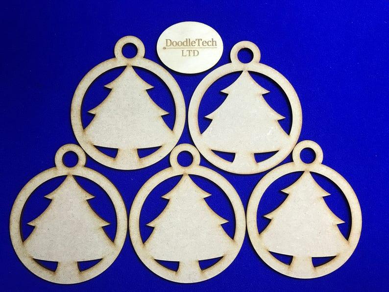 MDF Laser Cut Christmas Bauble Tree Decoration Angel Granny