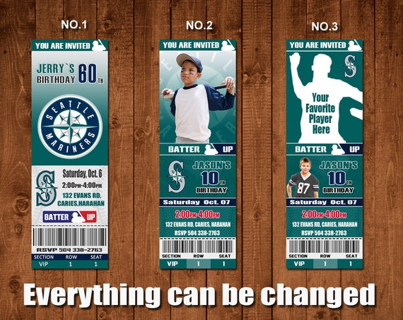 Seattle Mariners Baseball Graduation Party Invitationbaseball