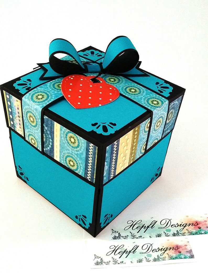Valentine Birthday 2 or 3 Layered Base with Heart wings Anniversary Explosion Box For ANY OCCASION DIY Wedding Do It Yourself