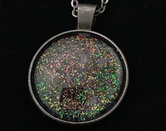 Gray and Multicolored Glitter Glass Pendant Necklace 003
