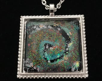 Blue, Silver, and Multicolored Glitter Glass Pendant Necklace 035