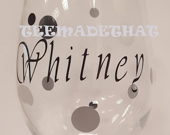 Polka Dot Custom Wine Glass w/Glitter Stem