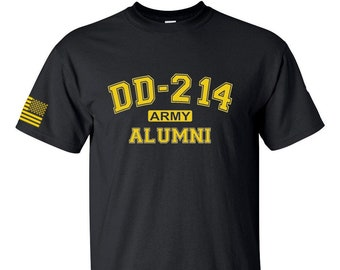 Army Shirt - DD214 Alumni - Mens and Womens Military Shirt - Veteran - Army Reserve - National Guard - Military Service - Retired Army