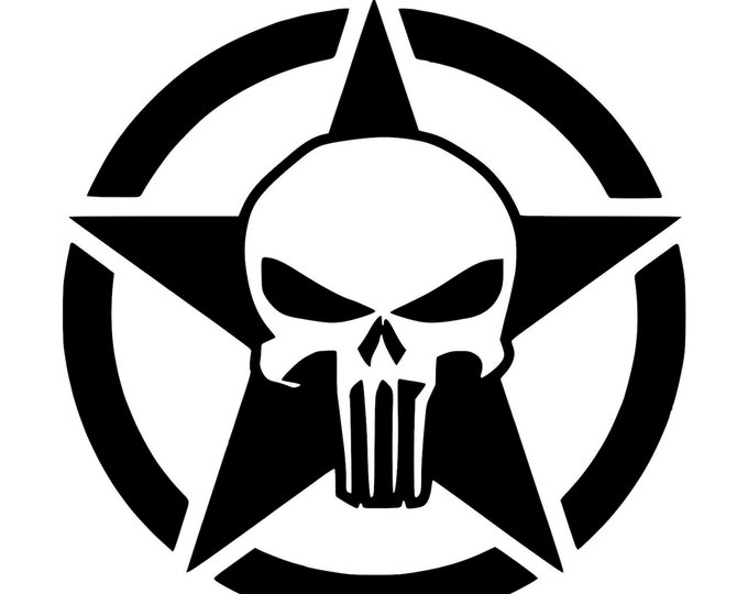 Punisher and Star - Vinyl Decal - Die Cut Vinyl Decal - Automotive Decal - Window Decal - Wall Decor - Army - Jeep - Military