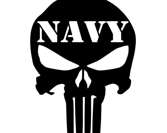 Navy - Punisher - 2A - Military - Vinyl Decal - Die Cut Vinyl Decal - Veteran - Auto Decal - Window Decal - Wall Decor - Second Amendment