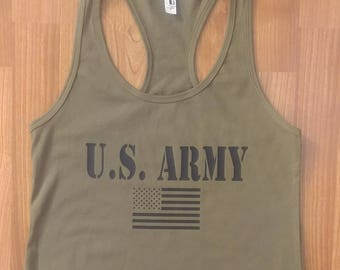 Army - Women's Army Shirt - Women's Tank Top - Women's Gym Shirt - Army Wife - Army Veteran - Army National Guard - Army Shirt For Women