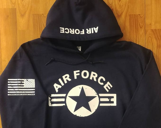 Air Force Distressed Hoodie - Navy Blue - Large - Free Shipping