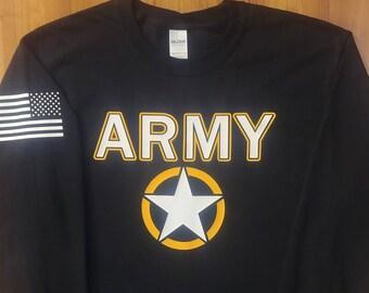 Army - Army Long Sleeve Shirt - Mens Army Shirt - Womens Army Shirt - Army National Guard - Army Veteran - Army Reserve - Invasion Star