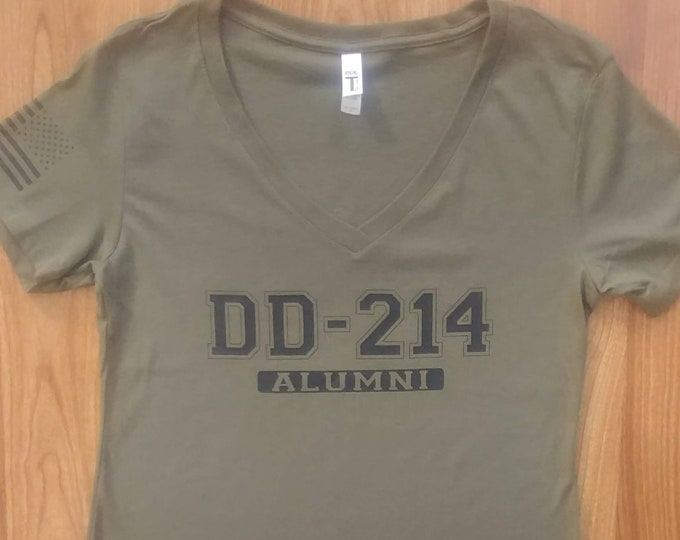 Army Shirt- Womens - DD 214 Alumni - V-Neck Shirt - National Guard  - Army Reserve - Army Veteran - Military Veteran - Womens Shirt