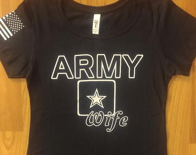 U.S. Army - Army Wife- Medium Shirt - Black/White -  Free Shipping