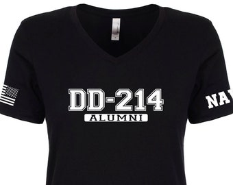 7c661164 Navy Shirt- Womens - DD 214 Alumni - V-Neck Shirt - Sailor - Navy Reserve -  Navy Veteran - Military Veteran - Womens Shirt