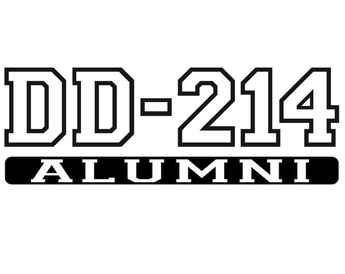 DD-214 Alumni - Army - Navy - Air Force - Marines - Veteran - Vinyl Decal - Die Cut Vinyl Decal - Auto Decal - Window Decal - Wall Decor