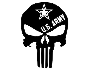 Army - Punisher - 2A - Military - Vinyl Decal - Die Cut Vinyl Decal - Veteran - Auto Decal - Window Decal - Wall Decor - Second Amendment