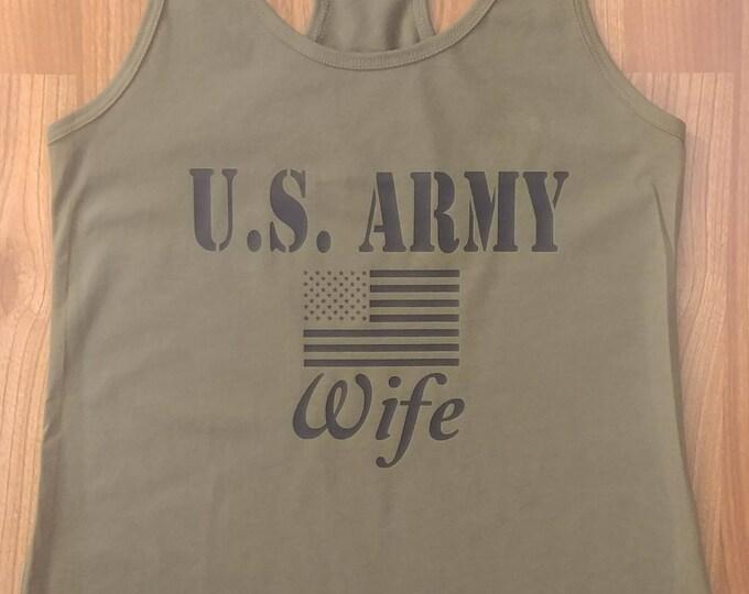 Army Wife - Women's Army Shirt - Women's Tank Top - Women's Gym Shirt - Army Veteran - Army National Guard - Army Shirt For Women