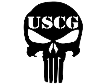 Coast Guard - Punisher - Military - Vinyl Decal - Die Cut Vinyl Decal - Veteran - Auto Decal - Window Decal - Wall Decor - Second Amendment