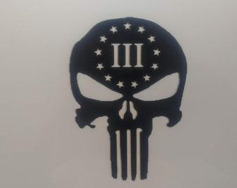 Punisher - 2A - Three Percenter - Second Amendment - Vinyl Decal - Die Cut Vinyl Decal - Military - Auto Decal - Window Decal - Wall Decor