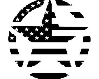 Army Invasion Star - American Flag - Distressed - Die Cut Vinyl Decal - Automotive Decal - Window Decal - Military - Veteran - 2nd Amendment