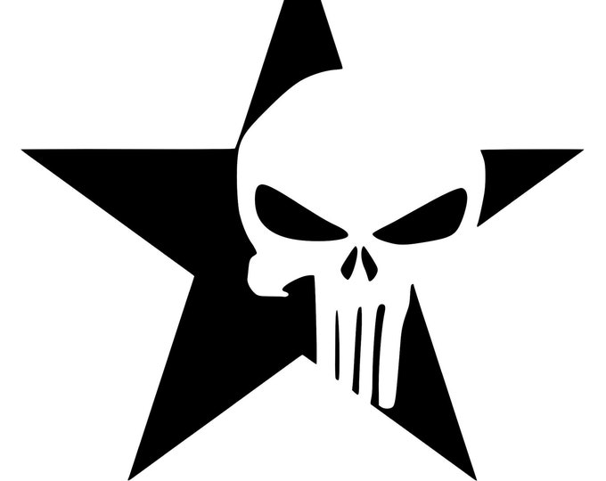 Punisher and Star (Set of 2) - Vinyl Decal - Die Cut Vinyl Decal - Automotive Decal - Window Decal - Wall Decor