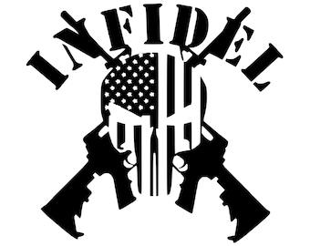 Infidel - Military - 2A - Second Amendment - Veteran - Die Cut Vinyl Decal - Military - Automotive Decal - Window Decal - Gun Rights