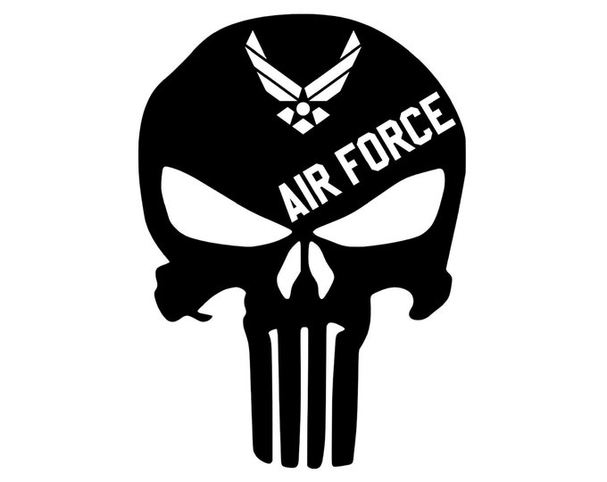 Air Force - Punisher - Military - Vinyl Decal - Die Cut Vinyl Decal - Veteran - Auto Decal - Window Decal - Wall Decor - Second Amendment